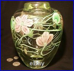10POUND! 1985 Orient & Flume vtg pink flower hearts vine studio art glass vase