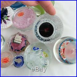 13 VTG Glass Paperweights Millefiori Baccarat Archimede Seguso Murano Coke JFK