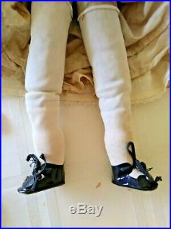 18 Inch Vintage wax over composition doll, glass paperweight blue eyes