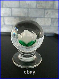 1960s FRANCIS WHITTEMORE Glass WHITE Crimp Rose Pedestal Paperweight