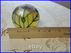 1984 Orient and Flume Iridescent Paperweight Pink Flowers Cosmos