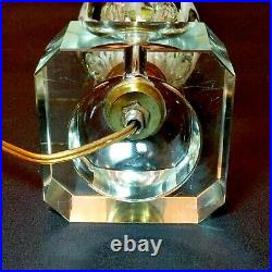 1 (One) ST CLAIR ART GLASS MCM Vintage Paperweight Electric Lamp w White Flowers