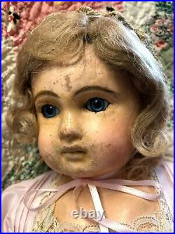21 Papier Mache Doll Original Body, Paperweight Glass Eyes/ USA shoppers only