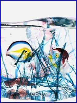 2 Color Sided Vintage Murano Aquarium Art Block Sculpture Fish Cendesse L@@k