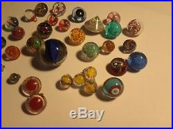 32 Vintage Paperweight Glass Button Lot Glass Shank Colorful Floral Bouquet