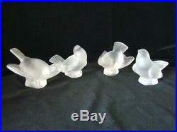4 Vintage LALIQUE Frosted Crystal SPARROW BIRD Paperweights, Signed