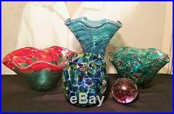 5 GLASS EYE STUDIO vtg bowl vase paperweight cup seattle art sculpture ruffle