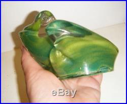 5 Large Green Art Glass Frog Paperweight Vtg MCM Modern Signed Daum France