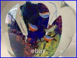 7 Fish 5 Murano Glass Aquarium Paperweight Jellyfish Italy Vintage Hand Blown