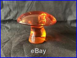 9 Vintage Viking Glass Mushroom Paper Weight Lot Blue Green Amber Persimmon