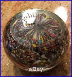 ACKER & JABLOW Millefiori Vintage Glass Paperweight