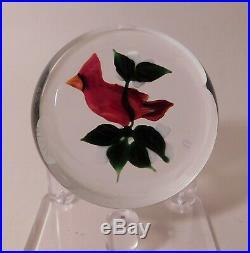 AMAZING Vintage Rick Ayotte Red CARDINAL Bird Lampwork ArtGlass PAPERWEIGHT