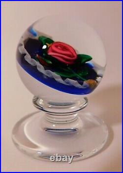 A Scarce & BREATHTAKING SIGNED CHARLES KAZIUN JR RED ROSE Art Glass Paperweight