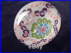 Antique 19c CLICHY Paperweight Quatrefoil Purple Pink Garlands Muslin Ground GL