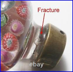 Antique Belgian or Bohemian Doorknob Concentric Millefiori Paperweight Handle