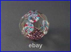 Antique Bohemian Facet Cut Glass Paperweight Floral, 1920 (# 4019)