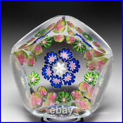 Antique Clichy concentric millefiori and 10 roses miniature faceted paperweight