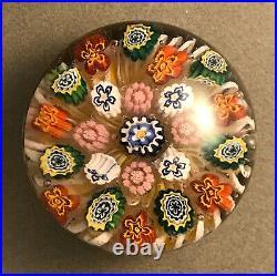 Antique German Silesian Bohemian Millefiori On Latticinio Glass Paperweight