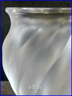Antique Lalique France Frosted Crystal Sparrow Vintage Rosine Bird Vase Signed