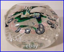 Antique NEGC NOSEGAY with 1 Row of GARLAND on Double Latticinio Paperweight 1877