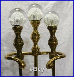Antique St Clair Paperweight Andirons Art Glass Brass Vtg Crystal Joe Zimmerman
