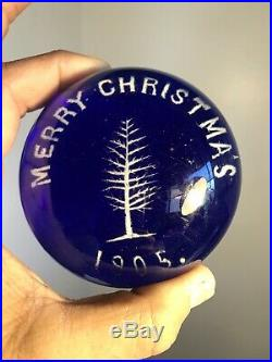 Antique Vintage Christmas Tree Paperweight Dated 1905 Millville Jersey Glass