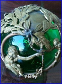 Antique Vintage Emerald Green Glass Paperweight w Brass Bronze Animals SIGNED