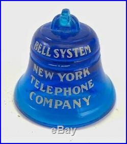 Antique vintage Bell System telephone blue glass paperweight New York