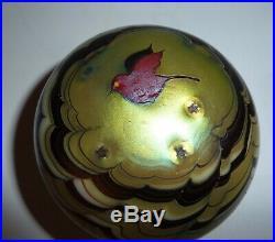 Art Glass Paperweight Bird Signed Lundberg Studios Vintage Gold Iridescent