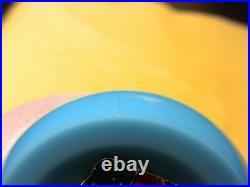 BACCARAT Opaline Blue Glass Paperweight with sticker + modern design = FRANCE
