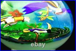 BACCARAT Three birds Art Glass pacifique Lt Ed Footed Paperweight, Apr 5.25Hx5W