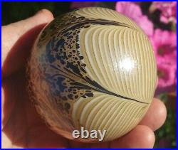 BROWN Eisch pulled feather vtg art glass paperweight drape spider web signed