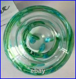 Beautiful Vintage Heavy Paperweight Art Glass Vase with Flowers