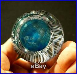 Beautiful Vintage Moshe 87' Blue And White Lattice Paperweight