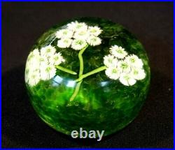 Beautiful Vintage Murano White Flowers, Green Background Paperweight