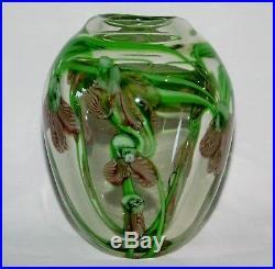 Beautiful Vintage Studio Art Glass Paperweight Vase Purple Green Plume