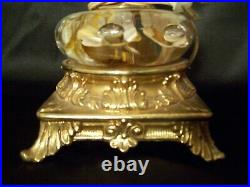 Beautiful amber & tan St Clair table Lamp Indiana paperweight glass