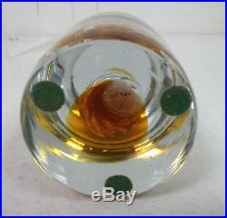 Blenko ART GLASS VINTAGE CYLINDER ROUND TOP PAPERWEIGHT WITH SWIRL DESIGN
