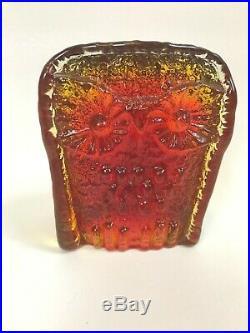 Blenko Owl Vintage Art Mid Century Amber Modern Sculpture Joel Myers Paperweight