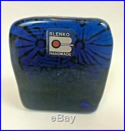 Blenko Owl Vintage Art Mid Century Blue Modern Sculpture Joel Myers Paperweight