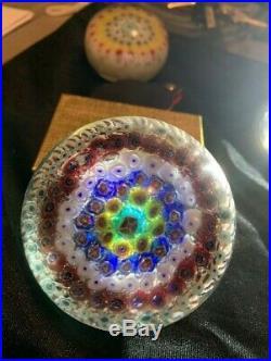 Bundle 2 Vintage Millefiori Colorful Crystal Paperweights
