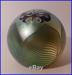 CAPTIVATING & Vintage SIGNED 1978 ORIENT & FLUME BUTTERFLY Art Glass Paperweight