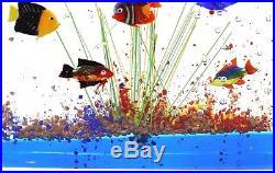 CHARMING Vintage MURANO Fish AQUARIUM Art Glass Block SCULPTURE Paperweight