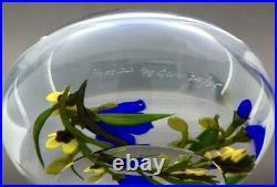 CHRIS BUZZINI Blue Flowers Bouquet Art Glass Studio Paperweight, Apr 3.5Wx2.25H