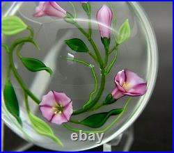 CHRIS BUZZINI Lavender Morning Glory Flower Glass Paperweight, Apr 3.25Wx2.25H
