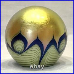 Correia Art Glass 3 Paperweight Gold Blue Signed Dated Vintage