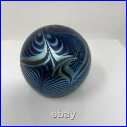 Correia Pulled Feather Paperweight Signed Vintage Blue Autographed Glass