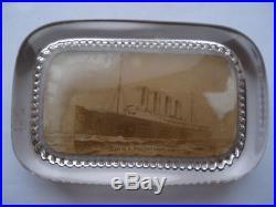 Cww1 Vintage Cunard R. M. S. Mauretania Photographic Souvenir Glass Paperweight