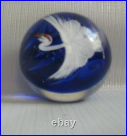 Daniel Salazar for Lundberg Studios Japanese Crane Art Glass Paperweight 2