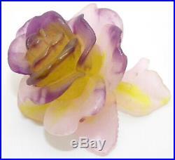 Daum France Signed Pate De Verre Rose Figurine Paperweight Art Glass Flower